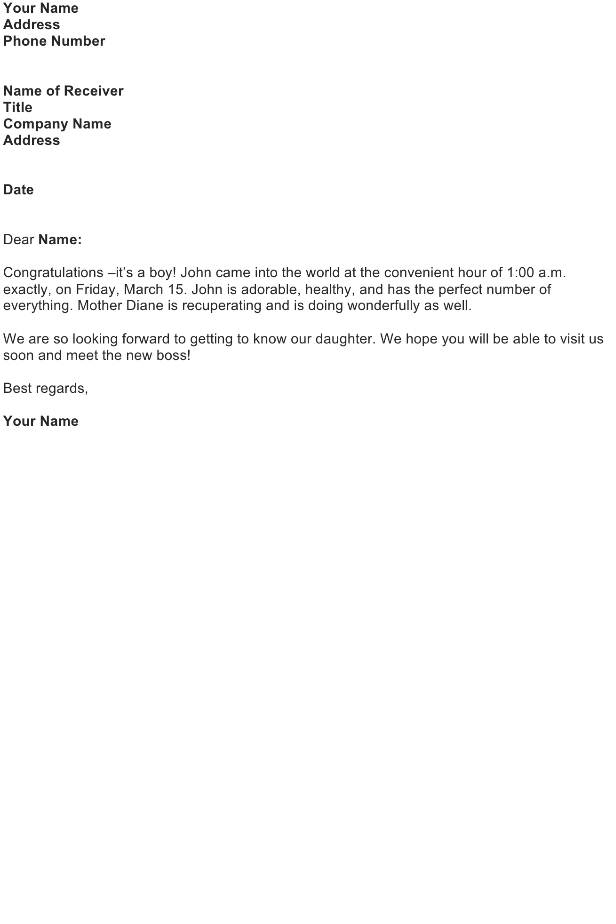 Announce the Birth of a Baby (Personal Letter)