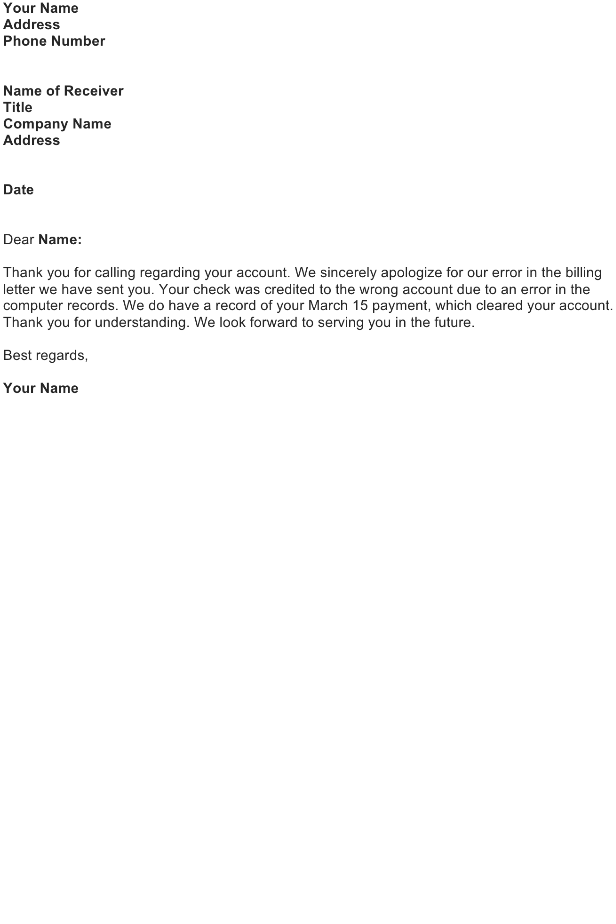 Apologize for Sending a Collection Letter by Mistake