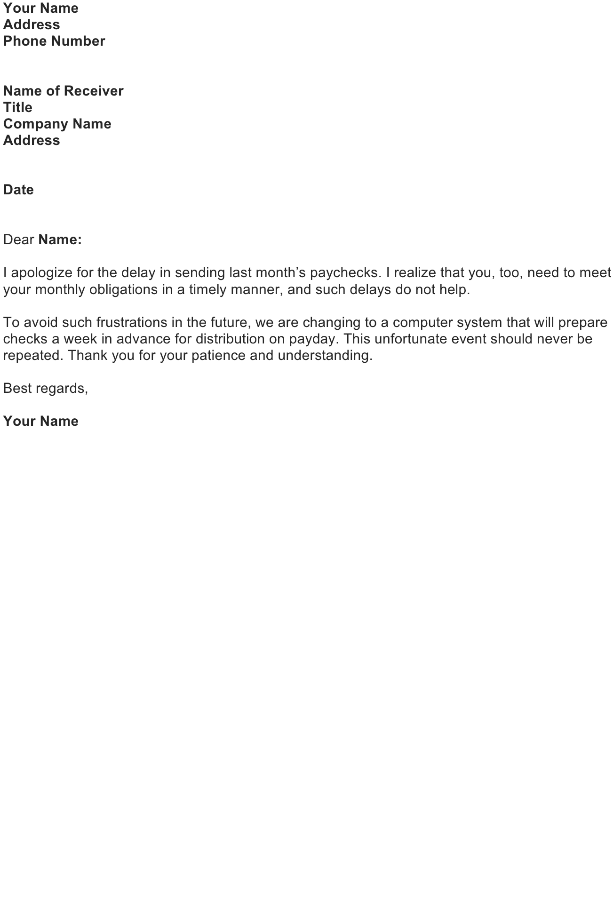 Apologize to an Employee in the Delay of Sending Paychecks