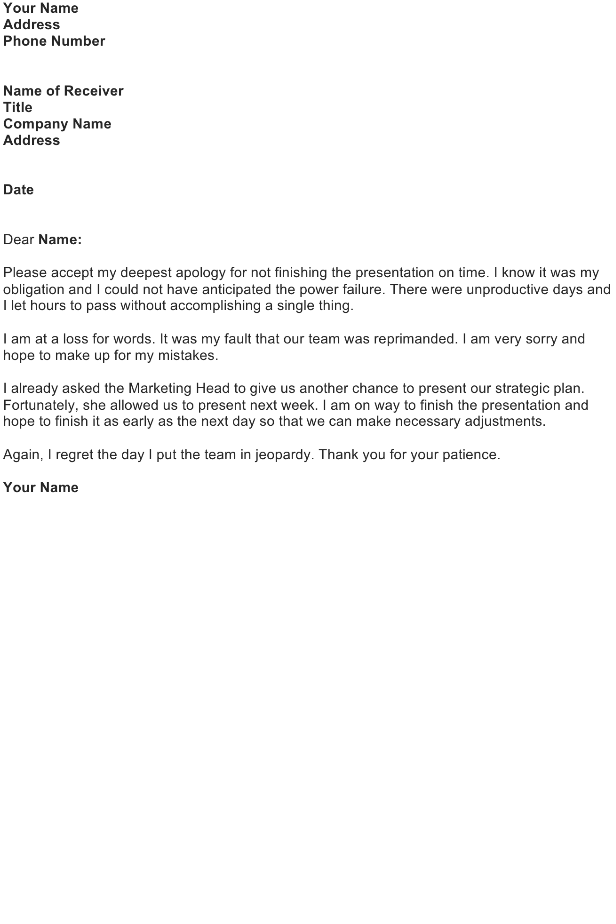 Apology Letter for a Missed Deadline