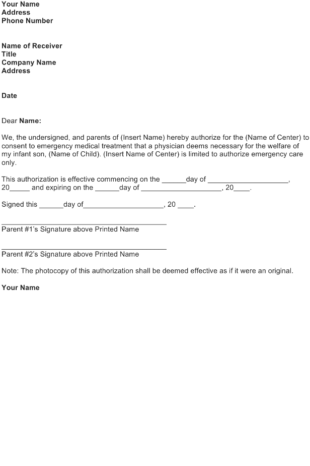 Authorize Medical Treatment Letter – FREE Download