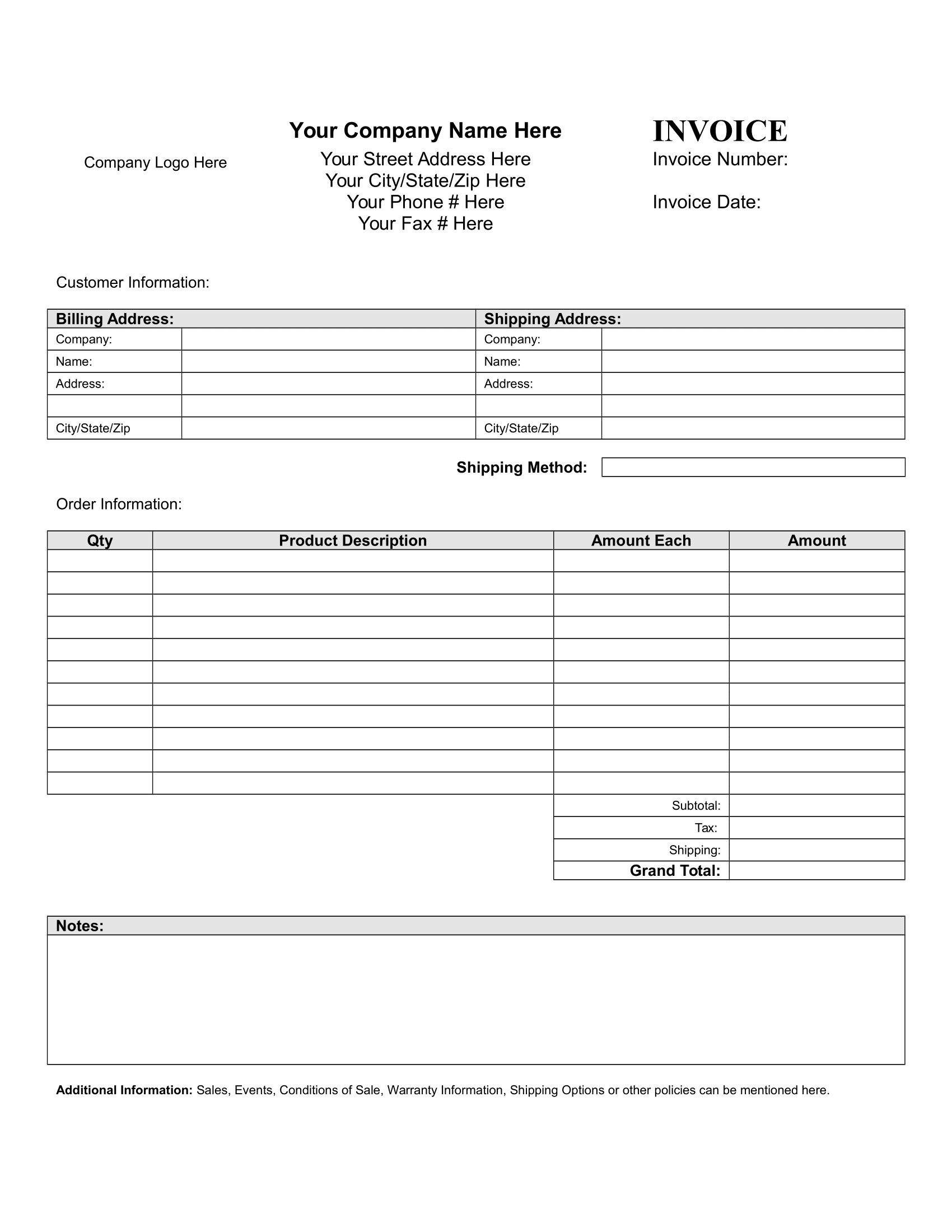 Blank Invoice Form – Download FREE Template