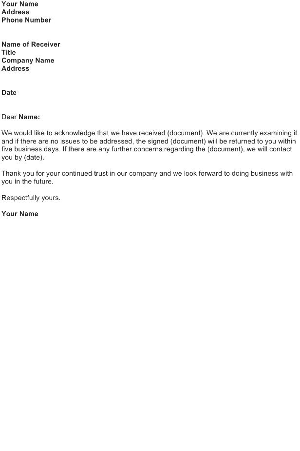 Business Agreement Acknowledgment Letter