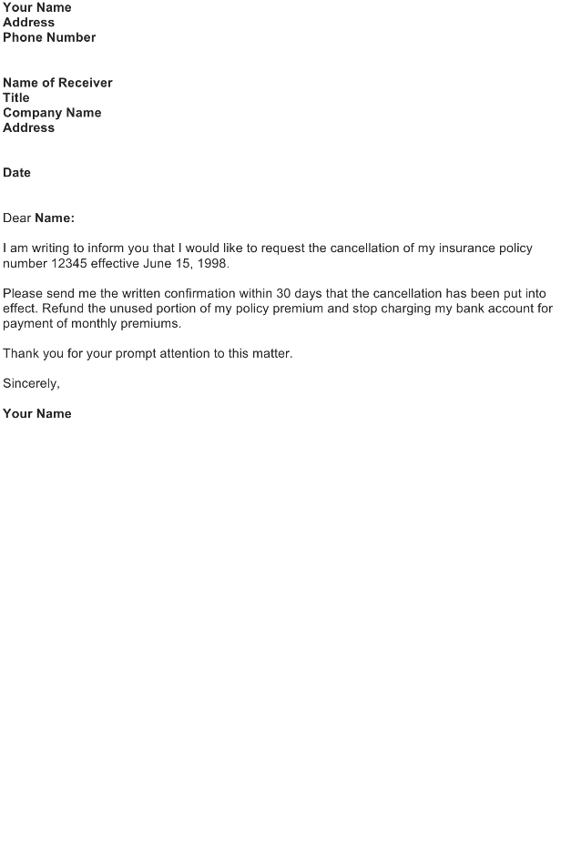 Cancellation of insurance policy sample letter free download for Refund cancellation policy template
