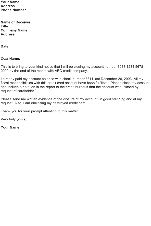 Close Credit Card Account Letter