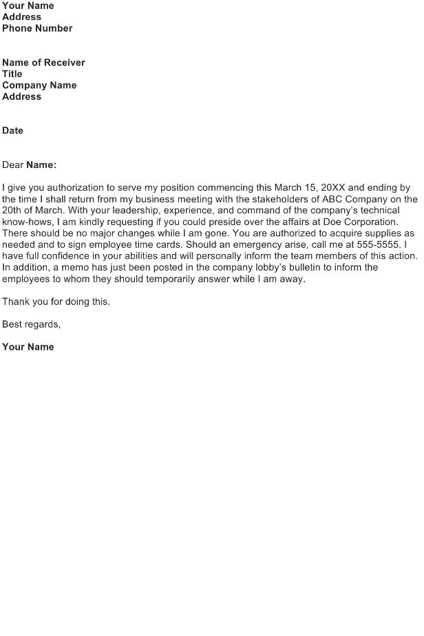 Authorization Letter Sample Download FREE Business Letter – Sample Letter of Authorization