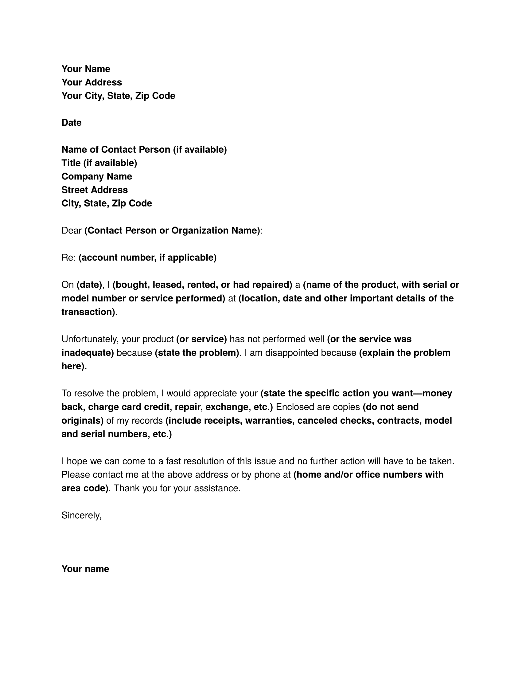 complaint letter sample business letter templates letter of complaint for product or service