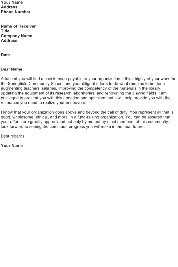 Letter to Accompany a Contribution to a Good Cause