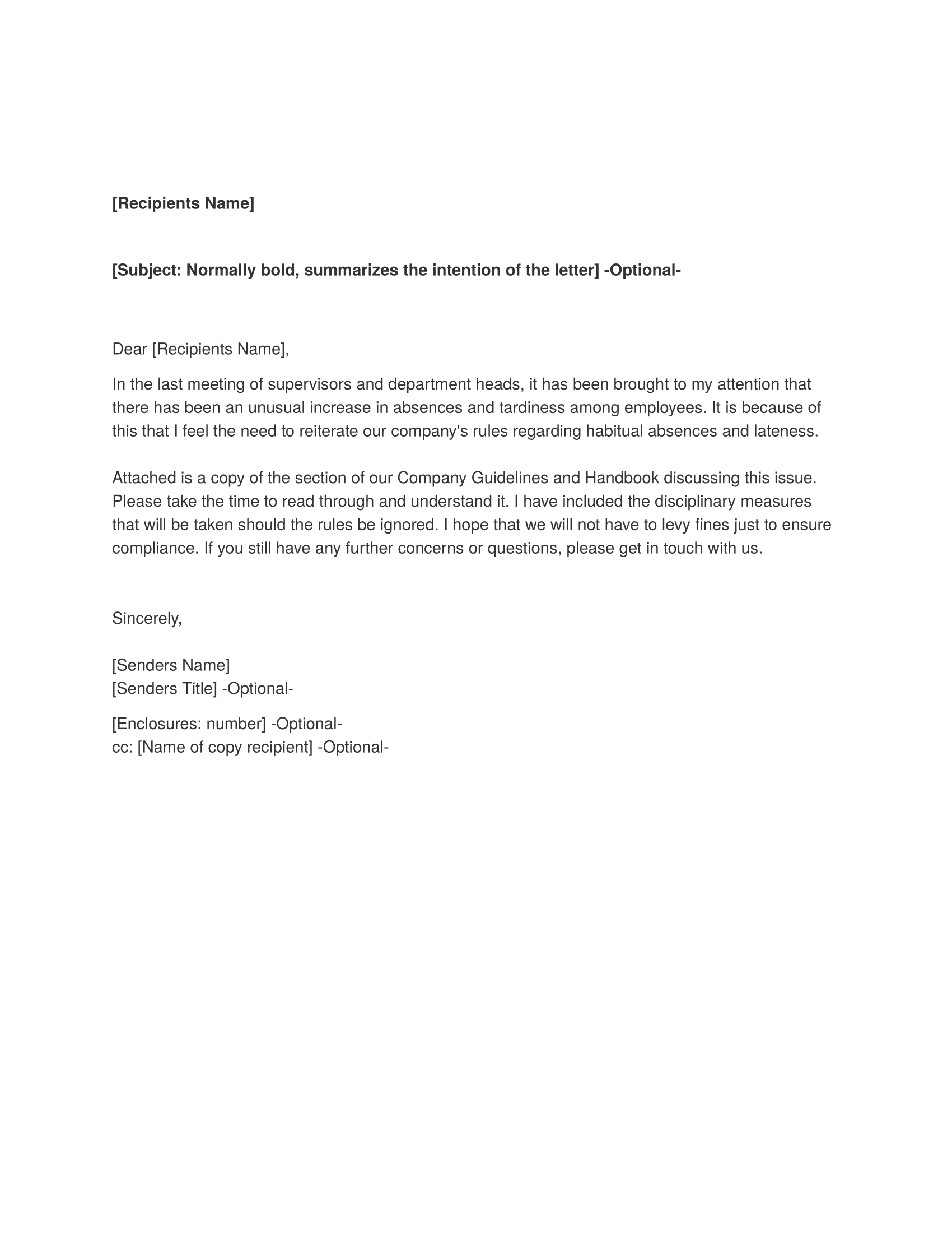 memorandum business letter templates and forms memorandum template sample absenteeism and tardiness
