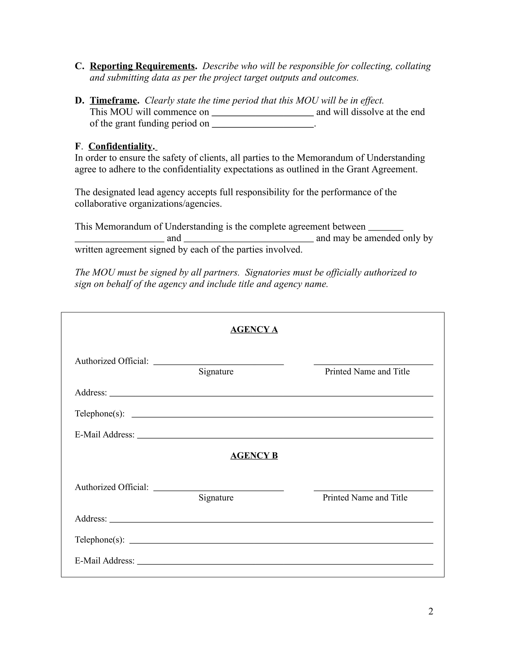 memorandum business letter templates and forms memorandum of understanding