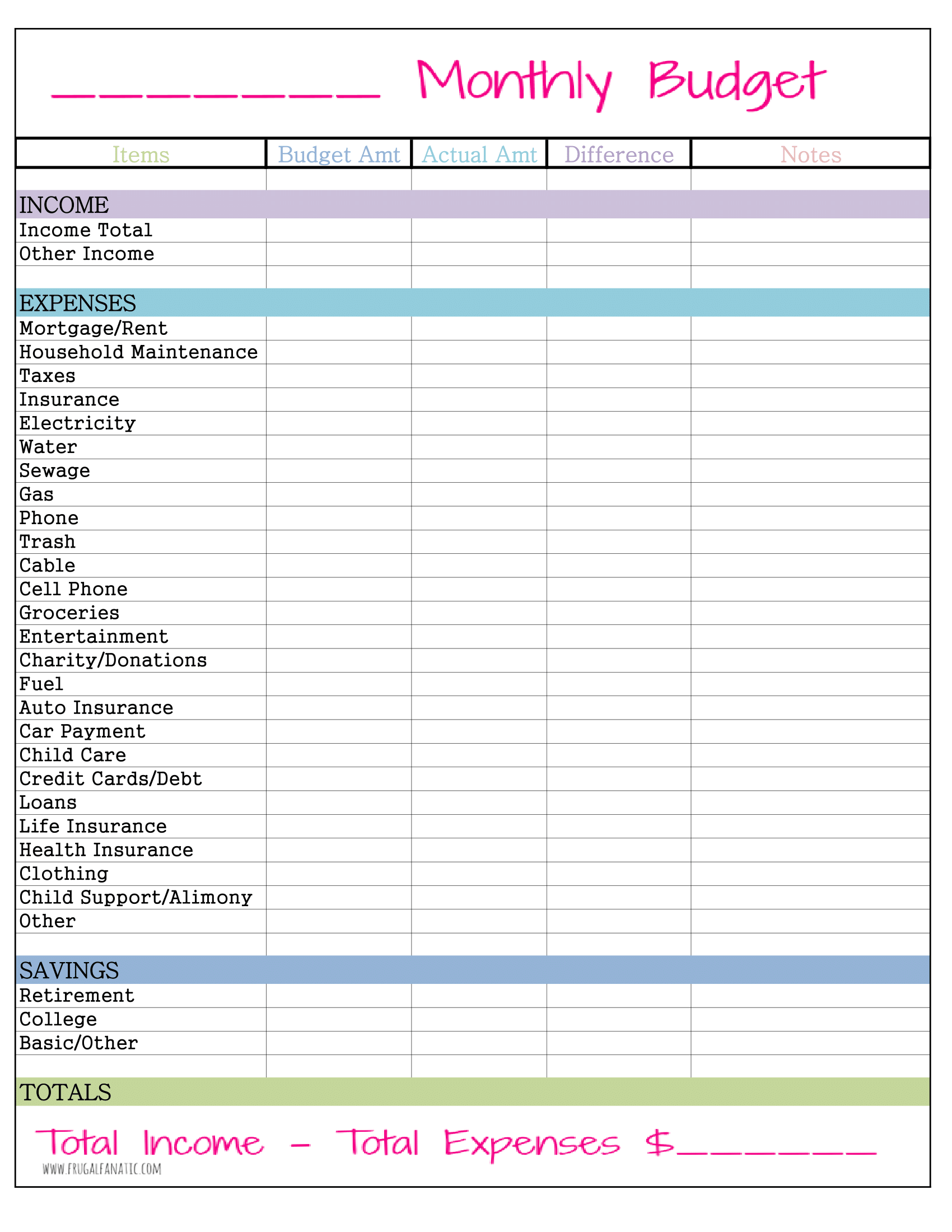 monthly budget planner form