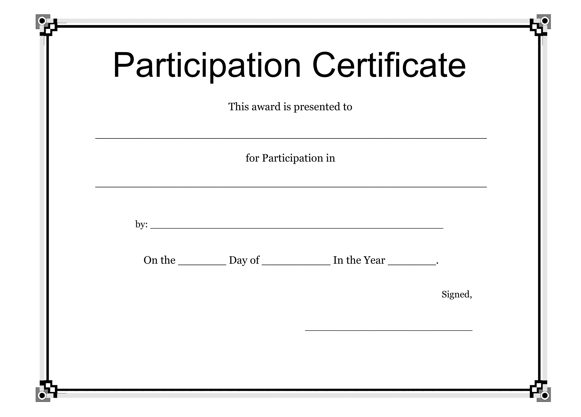 Participation Certificate Template FREE Download – Certificate of Participation Template