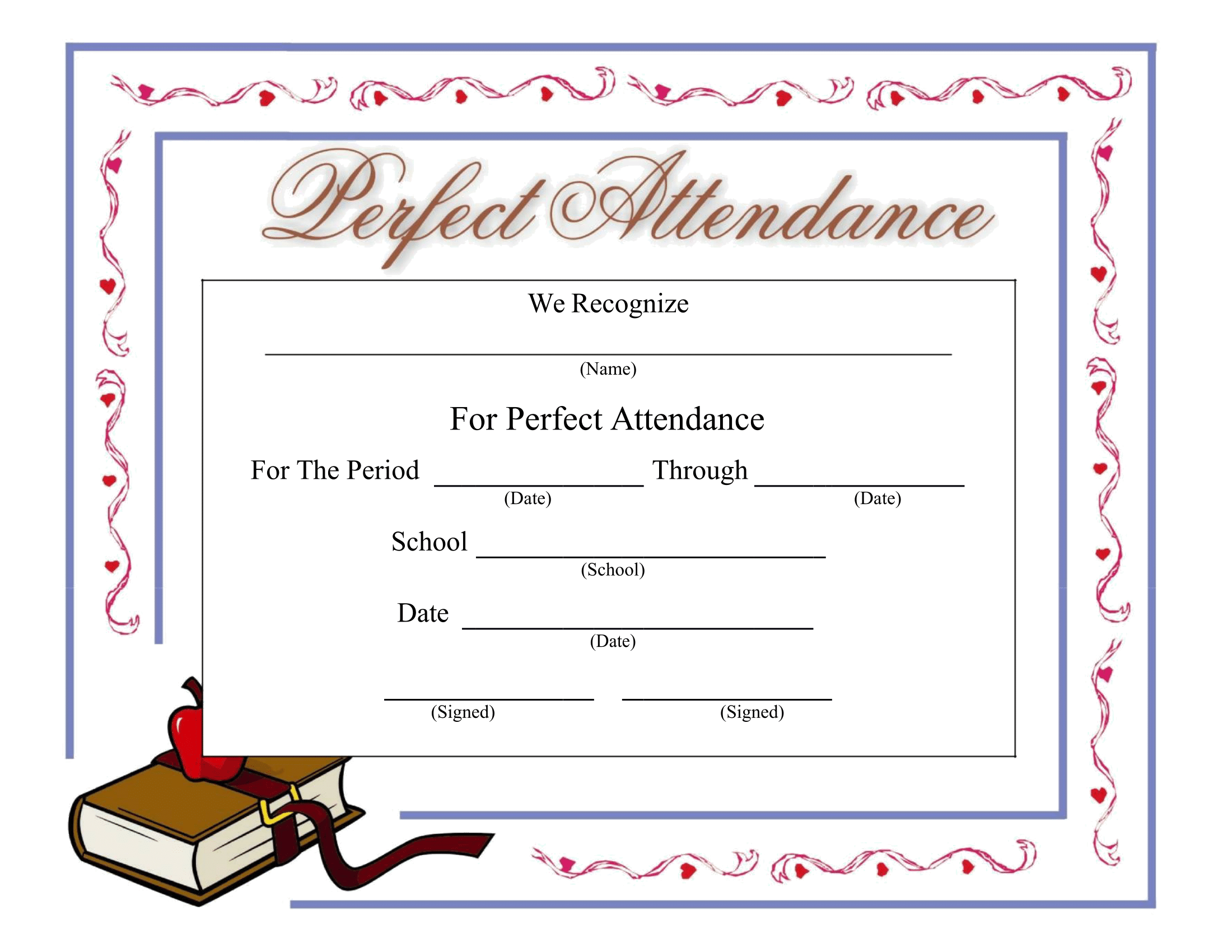 Perfect Attendance Certificate – Download a FREE Template