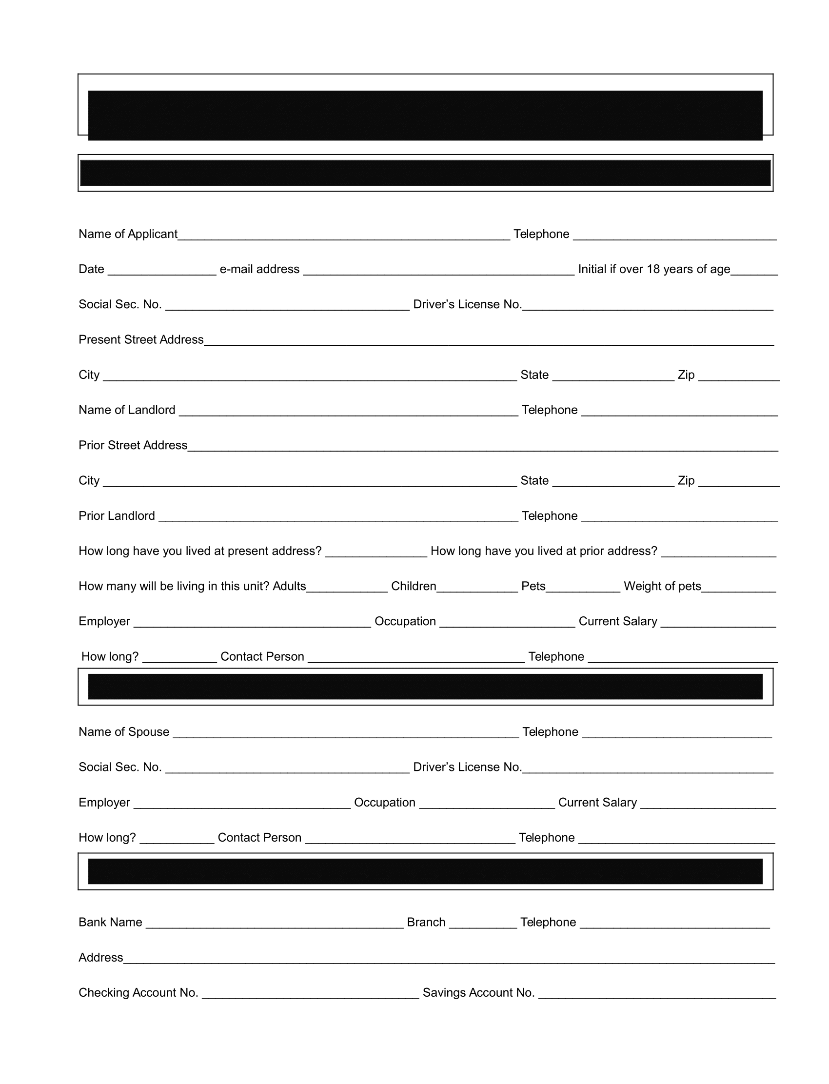 Rental Application Form – Download Free Template