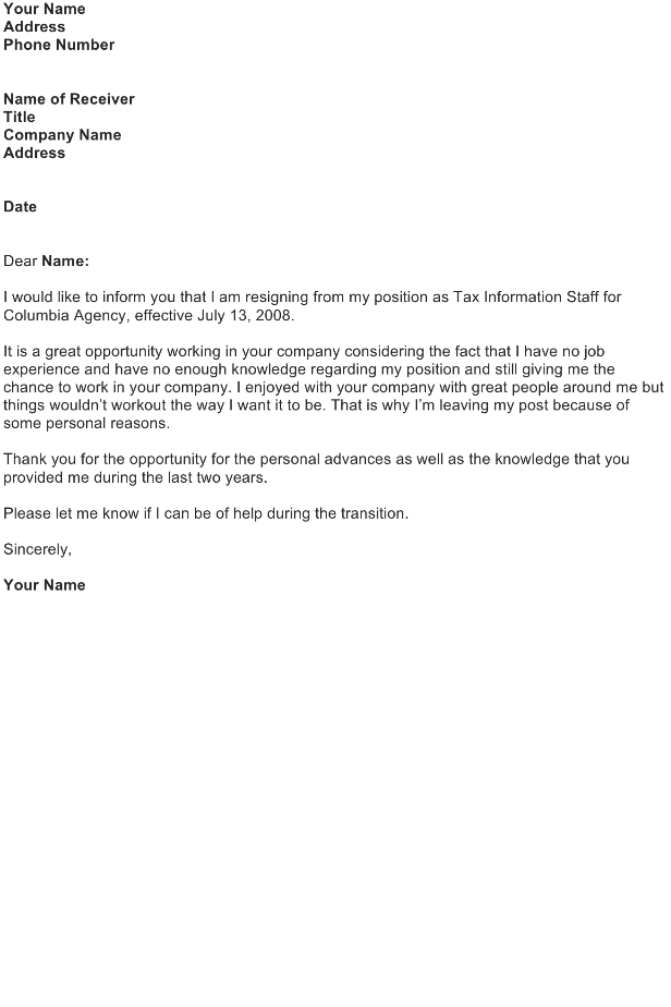 Resignation Letter as Tax Information Staff