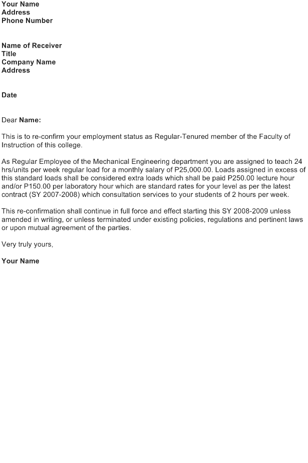 Sample Employment Letter – Status of Employment