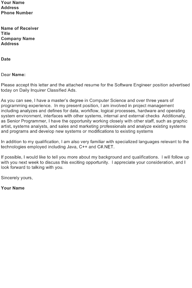 Sample Job Application Letter – Software Engineer