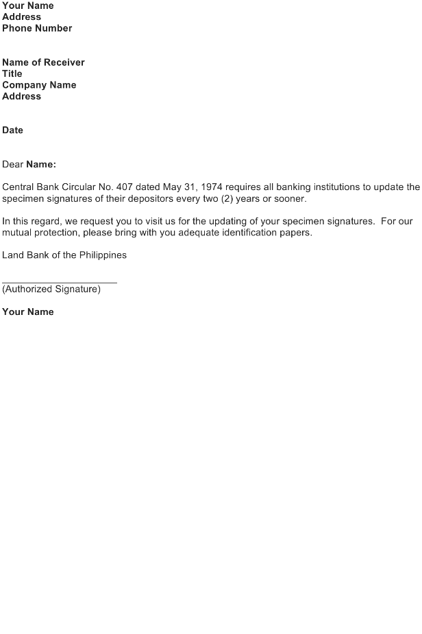 Sample Notice Letter from Bank