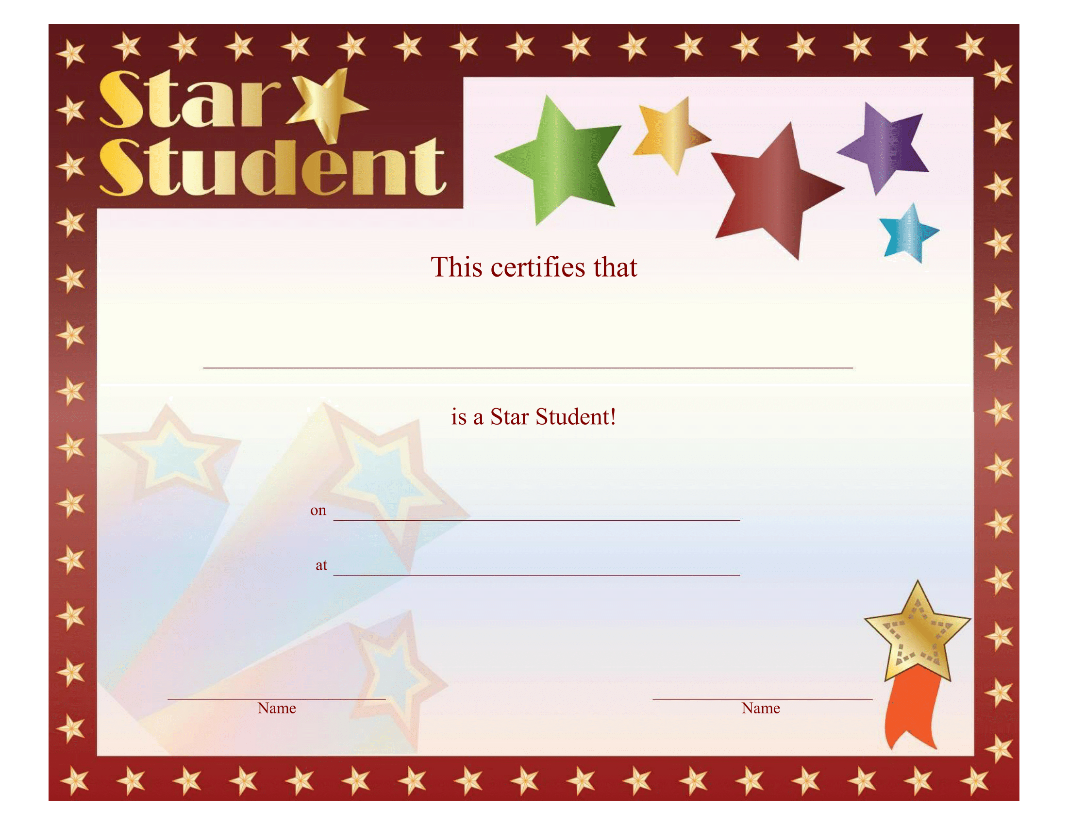 Star Student Certificate – FREE Printable Download