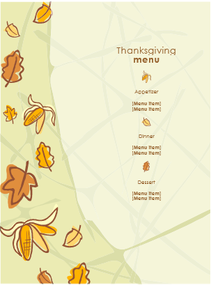 Thanksgiving Menu Template Sample  – FREE Download