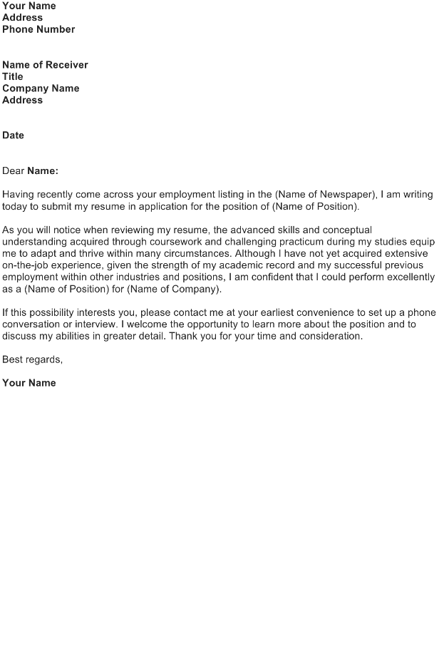 Write a Cover Letter to Introduce a Resume