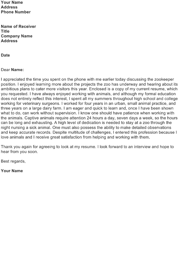 Write a Cover Letter to Introduce a Resume : Zookeeper Position