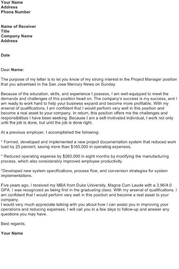 Write a Cover Letter to Introduce a Resume: Project Manager